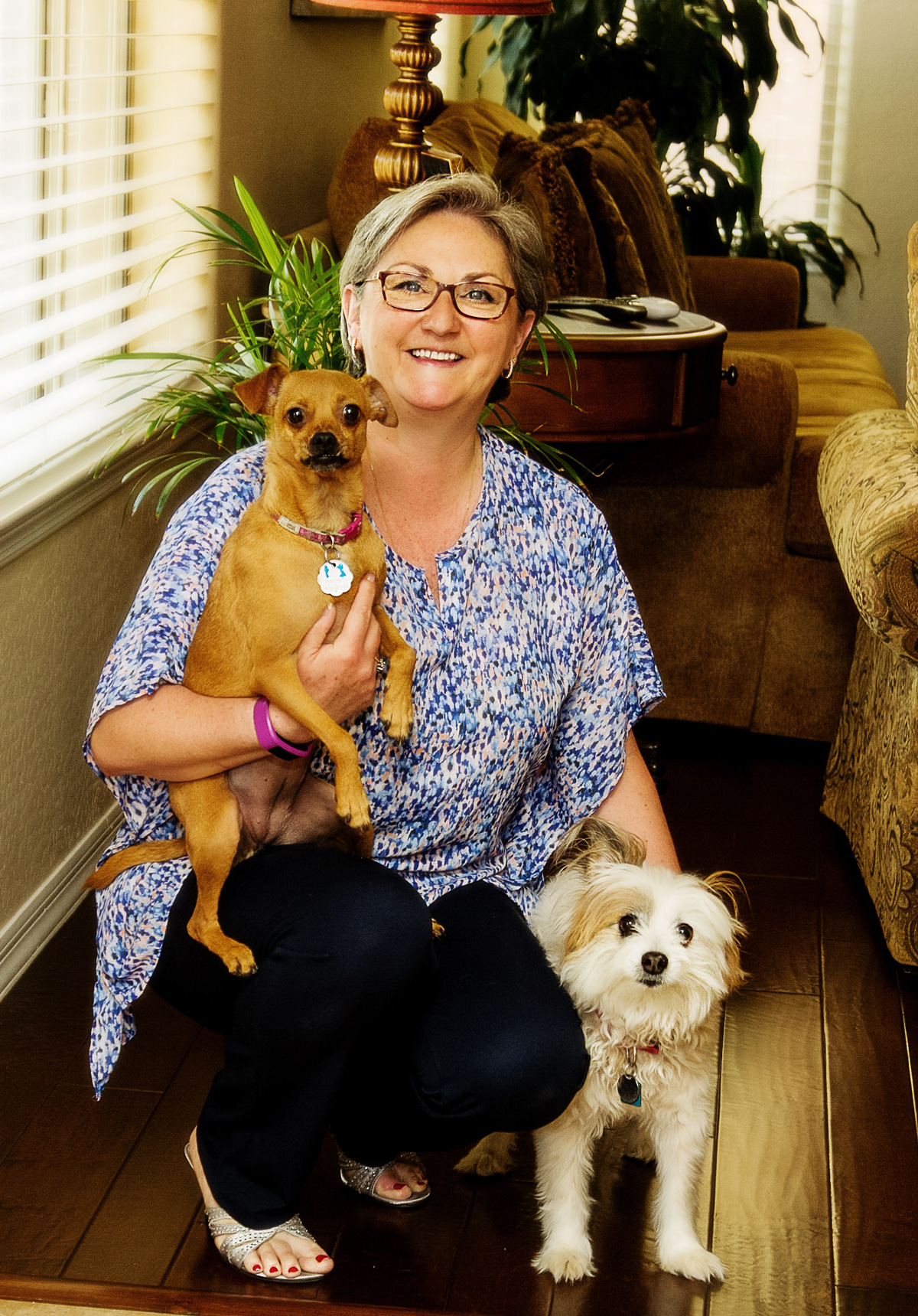 Author with pet dogs