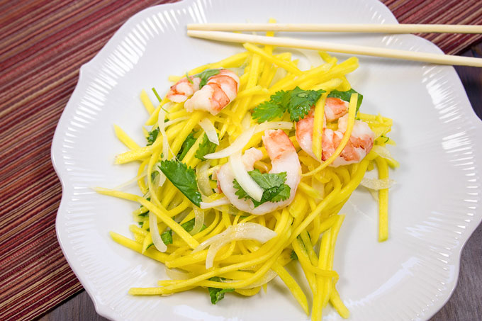 Green mango salad on a plate