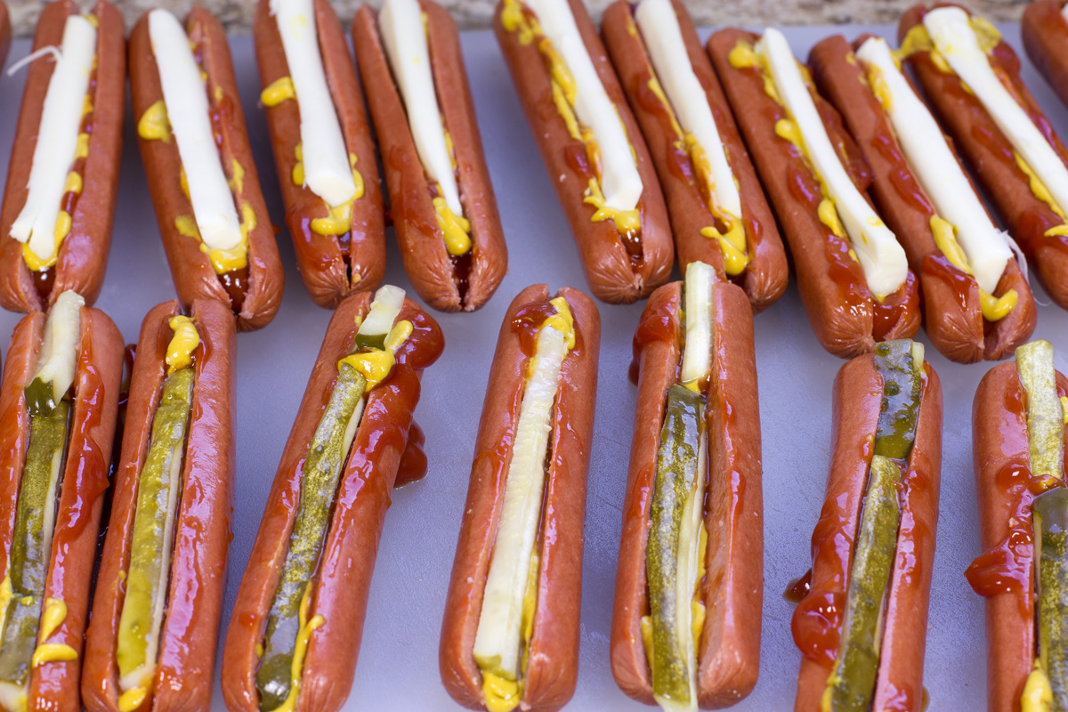 Stuffed Hot Dogs with Condiments
