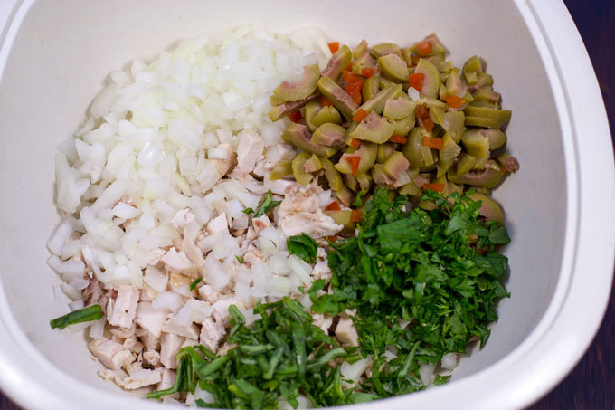 Diced components for chicken salad in a bowl