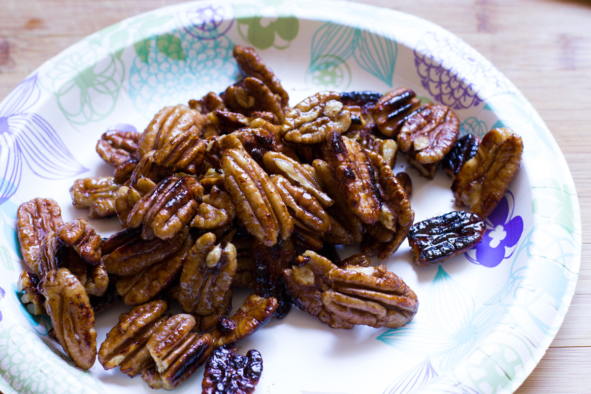Burnt candied pecans