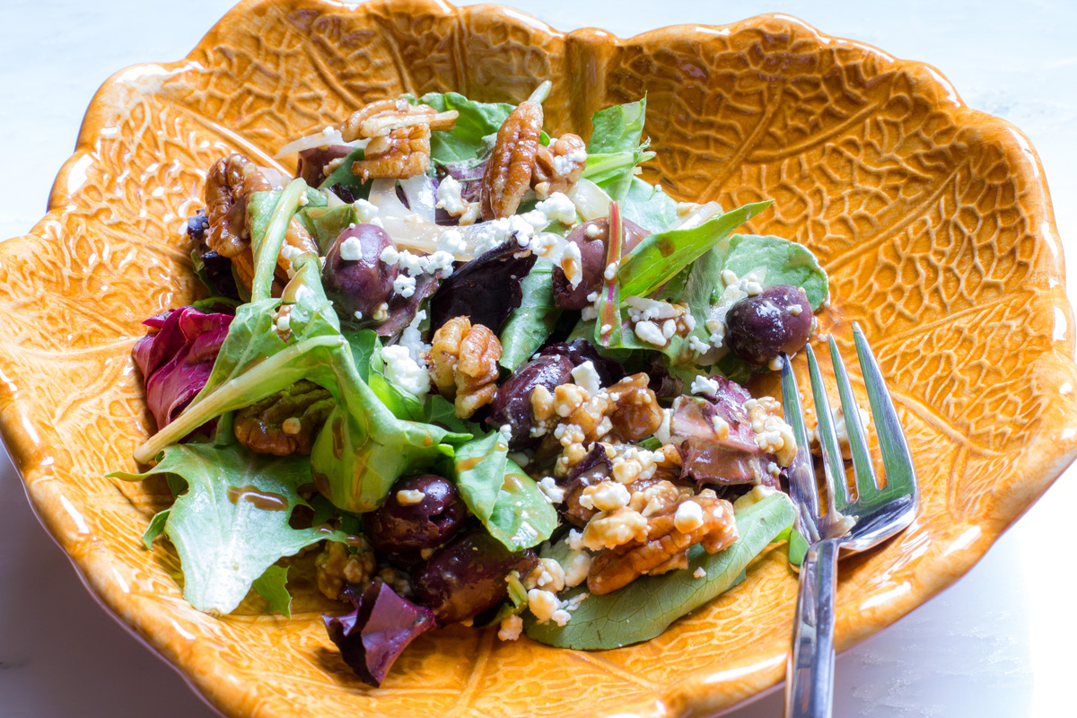 Pecan feta salad portion