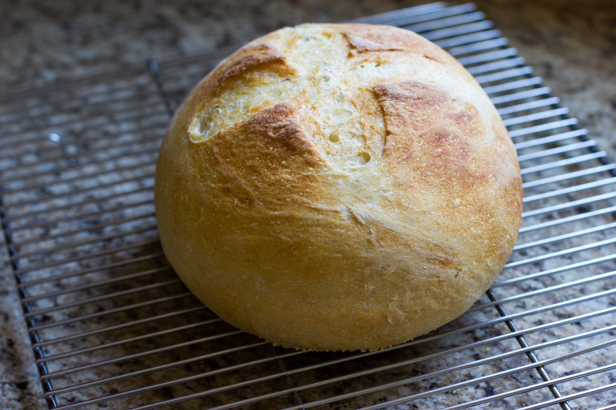 Baked bread on cooling rack
