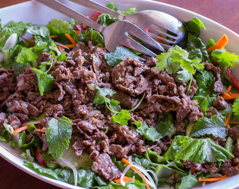 Beef salad in serving platter