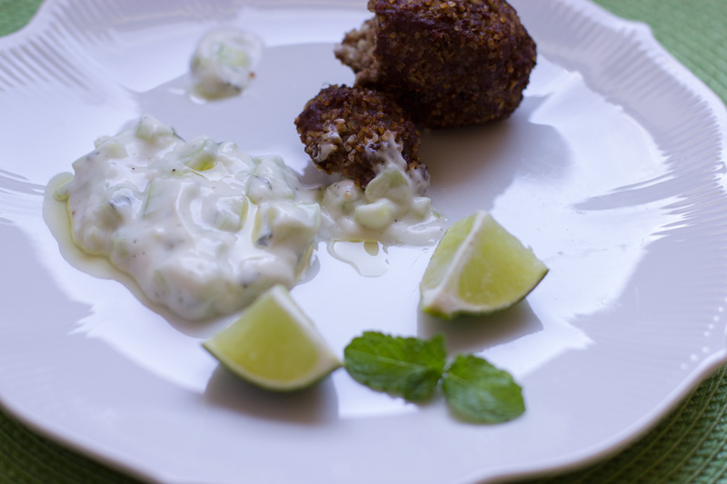 Quibe portion with cucumber sauce