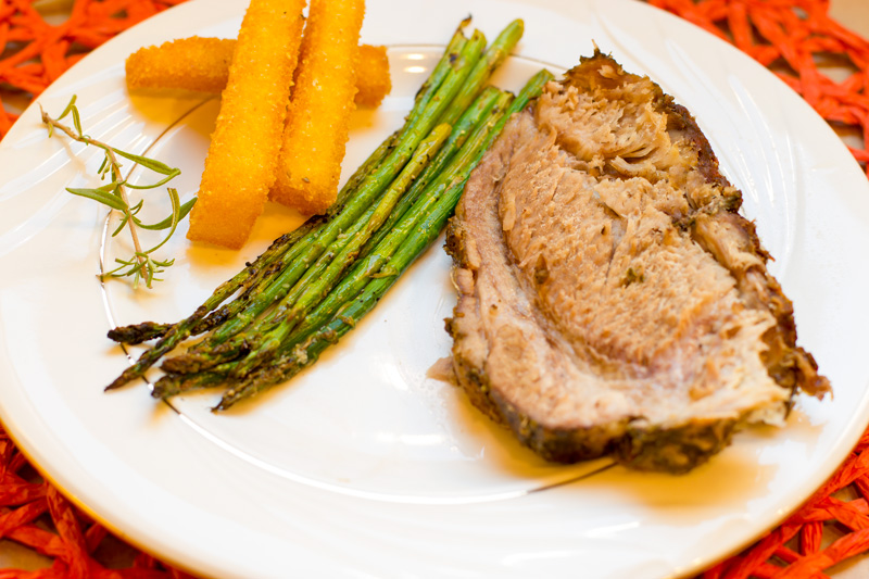 Pork roasted plated with sides