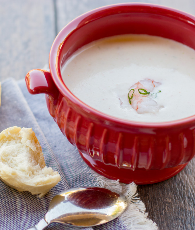 Bisque in a bowl with a different perspective