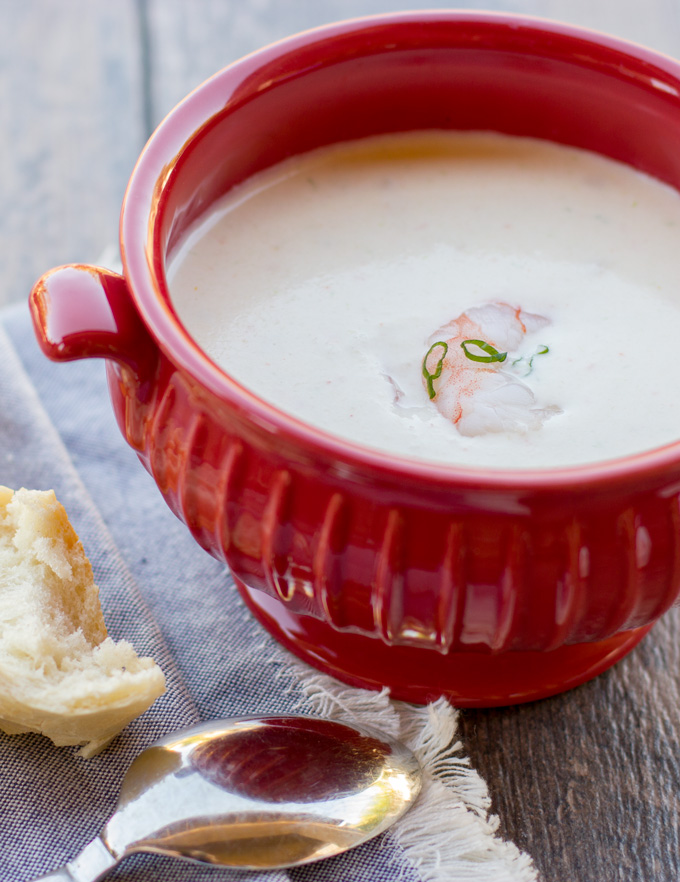 Shrimp bisque in a bowl feature image