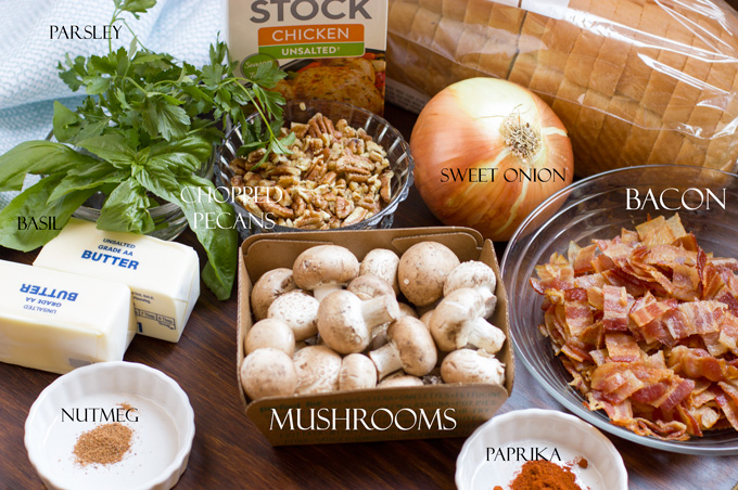 Ingredients for bacon dressing with mushrooms