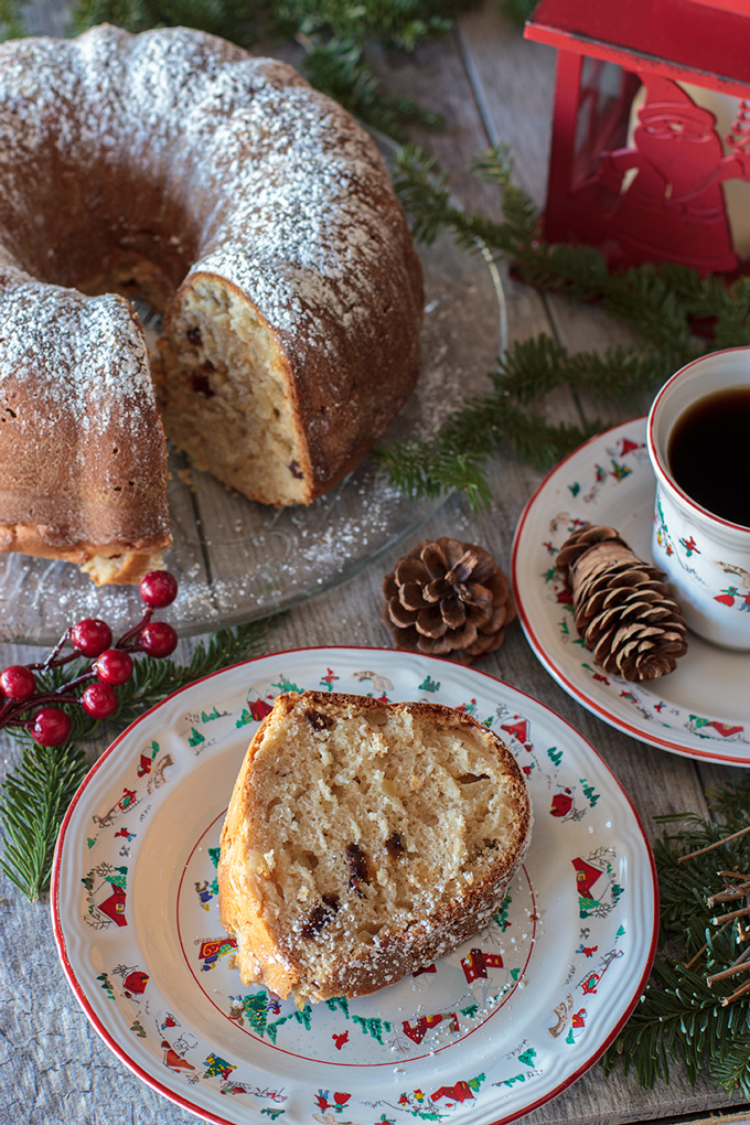 Colonial apple cake on a Christmas table