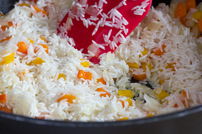 Sauteing rice for Greek rice