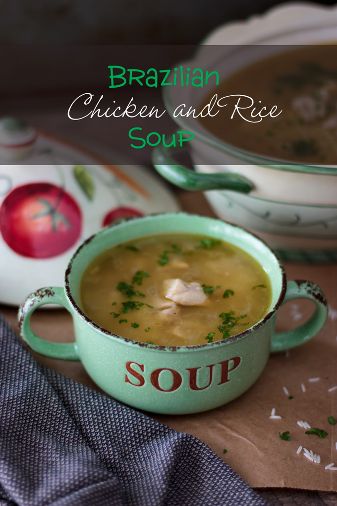 Chicken and rice soup feature image with banner