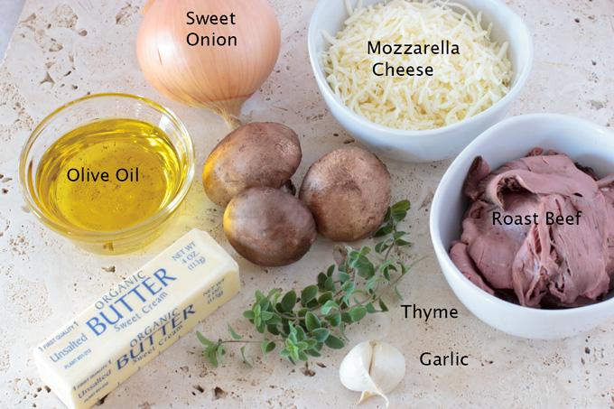 Ingredients for the beef mushroom and caramelized onion flatbread pizza
