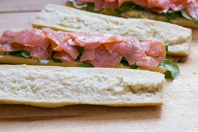 Smoked salmon baguette with all filling layers