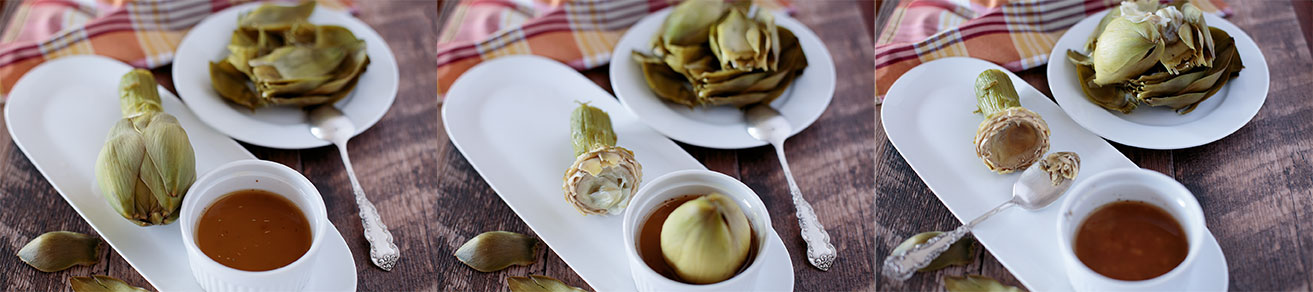 Images of how to eat the artichoke