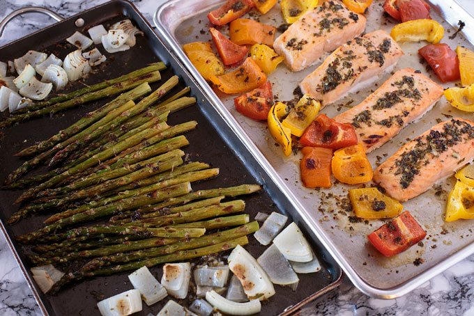 Chili lime honey grilled salmon and vegetables grilled in pan