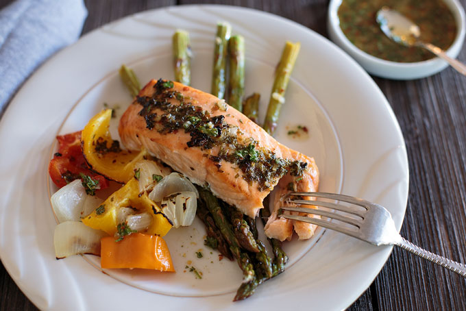 Chili lime and honey grilled salmon on a plate