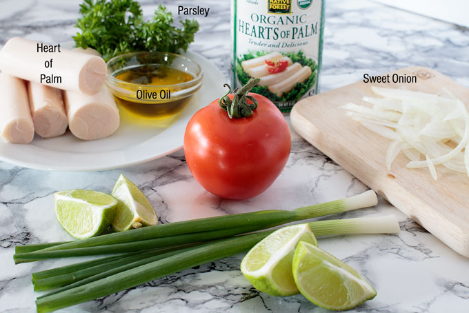 Ingredients for heart of palm salad
