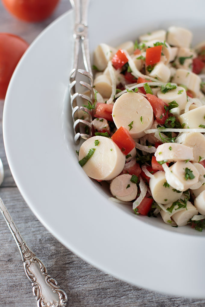 Heart of palm salad in a serving bowl