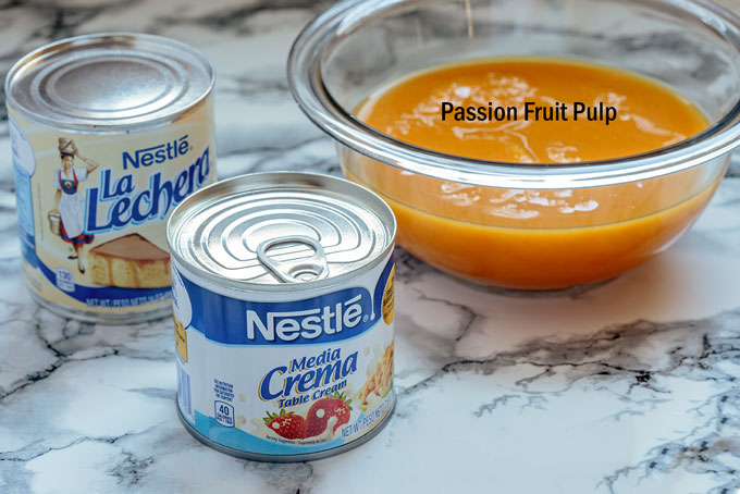 Ingredients for the passion fruit mousse