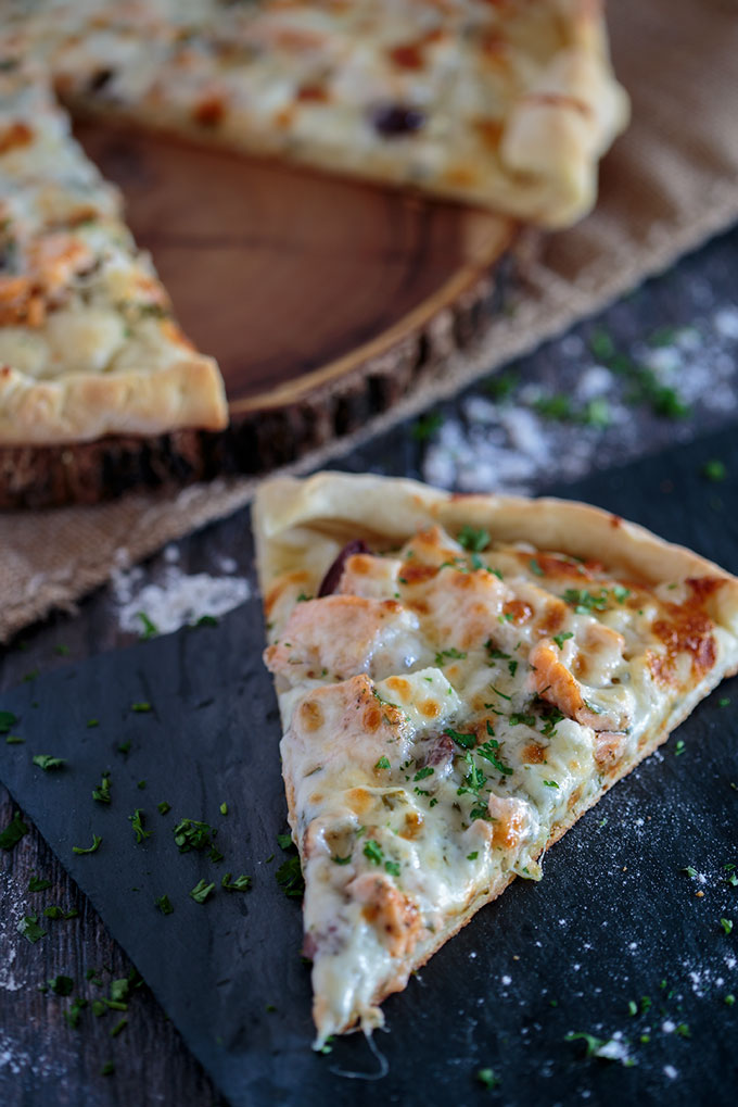 Salmon and herb pizza feature image