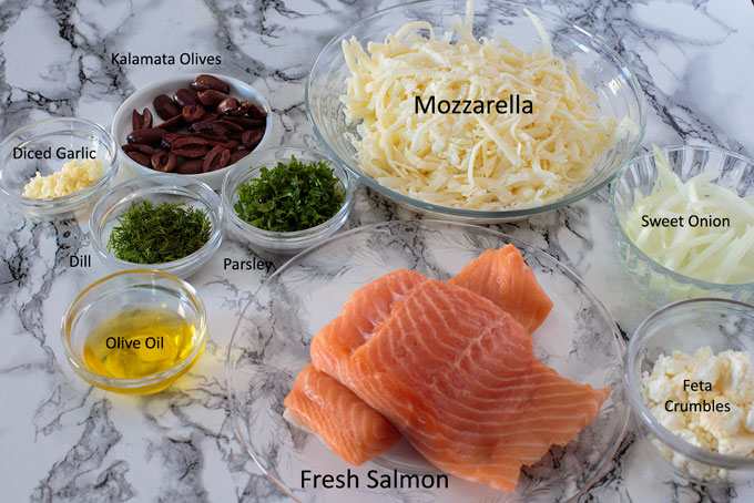 Ingredients for salmon and herb pizza
