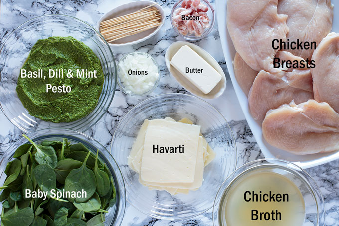 Ingredients for the stuffed chicken breast