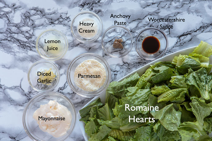 Ingredients for making the Caesar salad