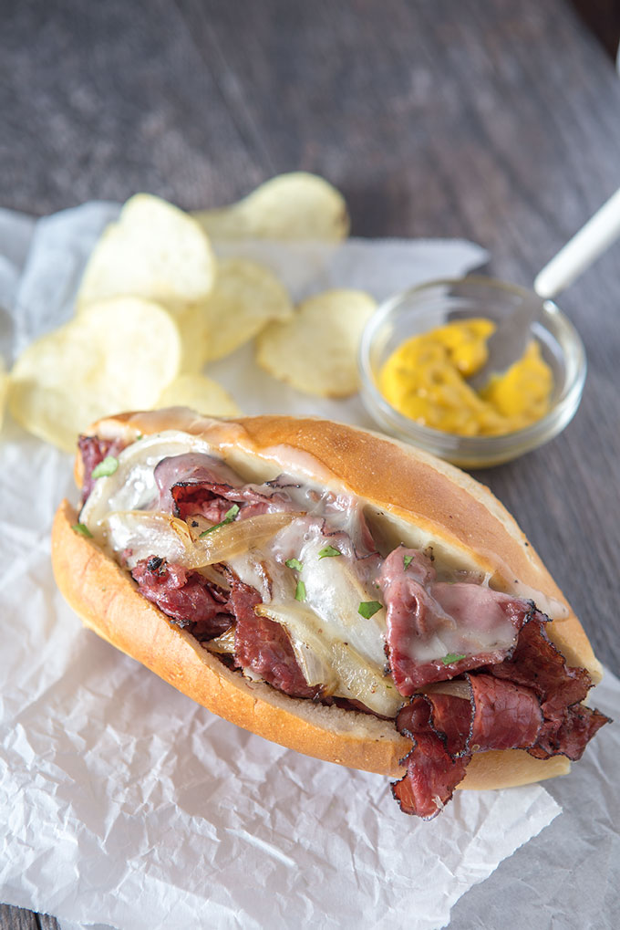 Feature image of the grilled pastrami and provolone