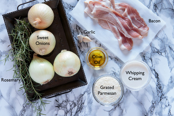 Ingredients for the baked stuffed onion