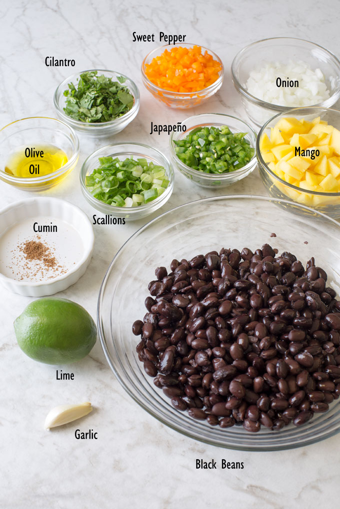 Ingredients for black bean and mango salad