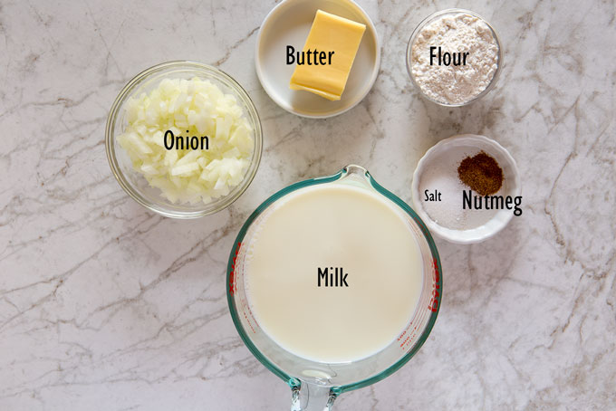 Ingredients for the béchamel sauce for the lasagna