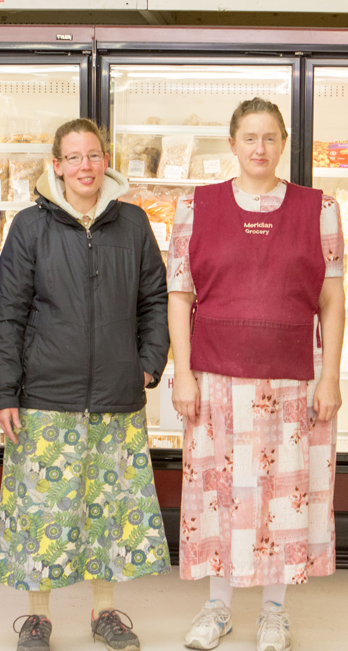 Two of the helpful ladies at Meridian Grocery, Steve's home town