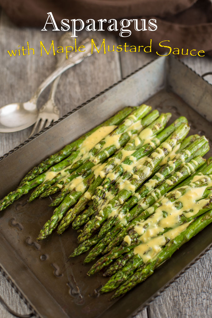 Asparagus with maple and mustard sauce with text banner