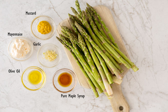 Ingredients for asparagus with maple and mustard sauce