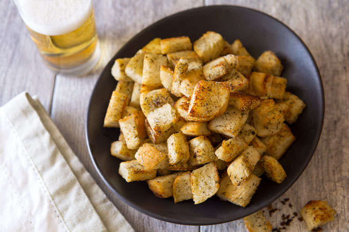 Moms' crouton snacks in a serving bowl on a table