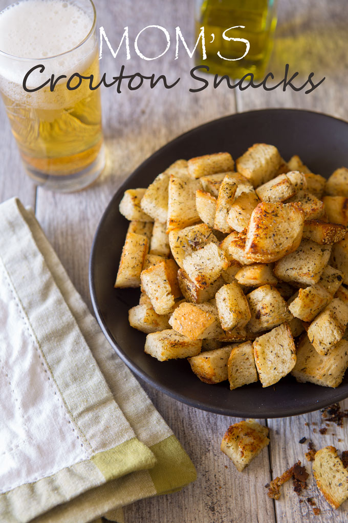 Moms' crouton snacks in a serving bowl on a table with text banner