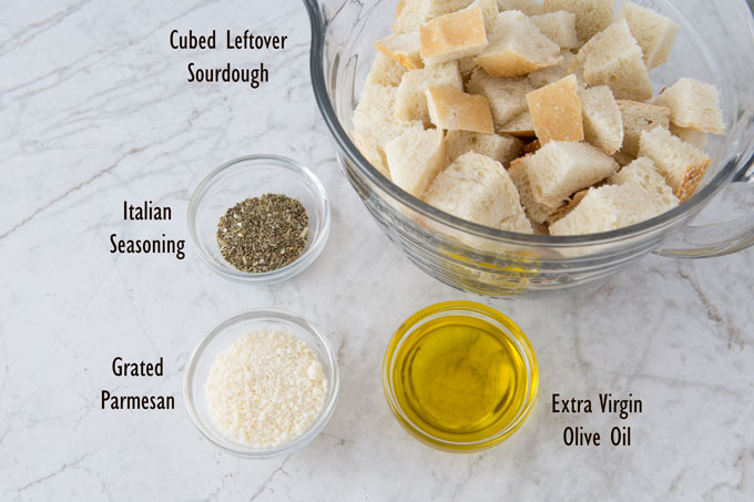 Ingredients for mom's crouton snacks