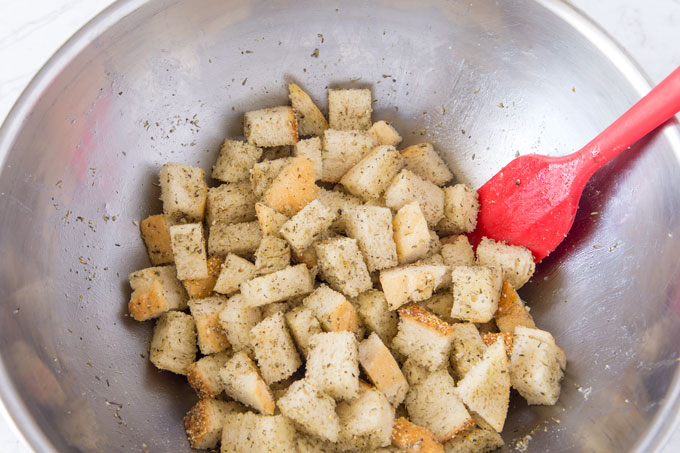 Seasoned croutons in a bowl