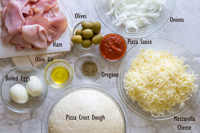 Ingredients for Portuguese pizza