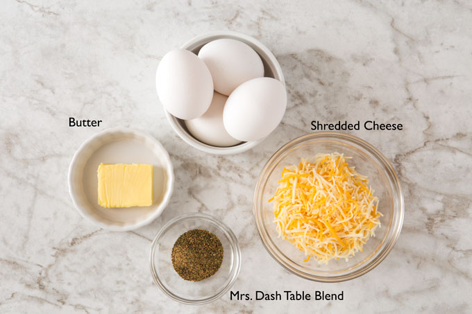 Ingredients for making mom's scrambled eggs