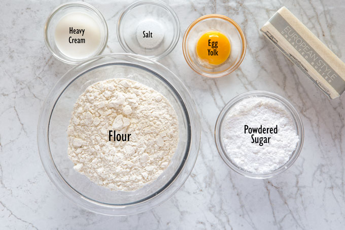 Ingredients for the tart dough