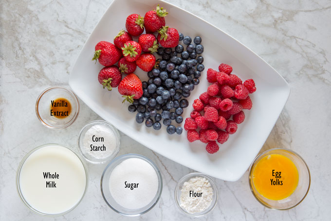 Ingredients for the berry tart filling