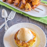 Grilled pineapple with ice cream scoop