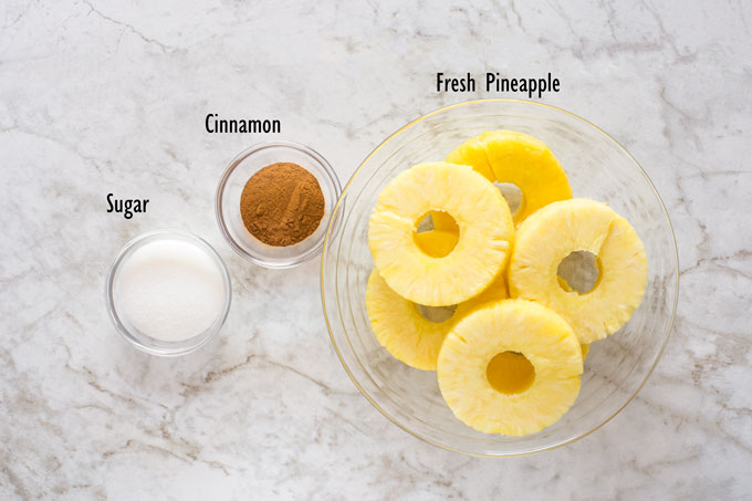 Ingredients for grilled pineapple
