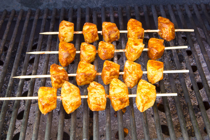 Pineapple kabobs on the grill