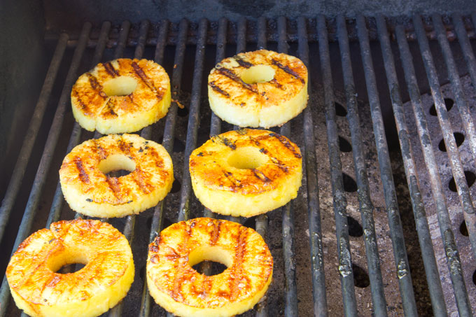 Pineapple rings on the grill