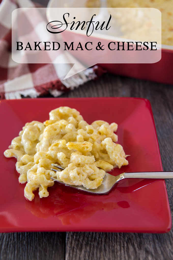 Mac and cheese on a plate with a fork with a text banner