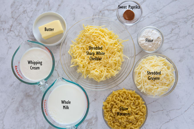 Ingredients for the mac and cheese