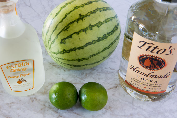 Ingredients for watermelon cocktail